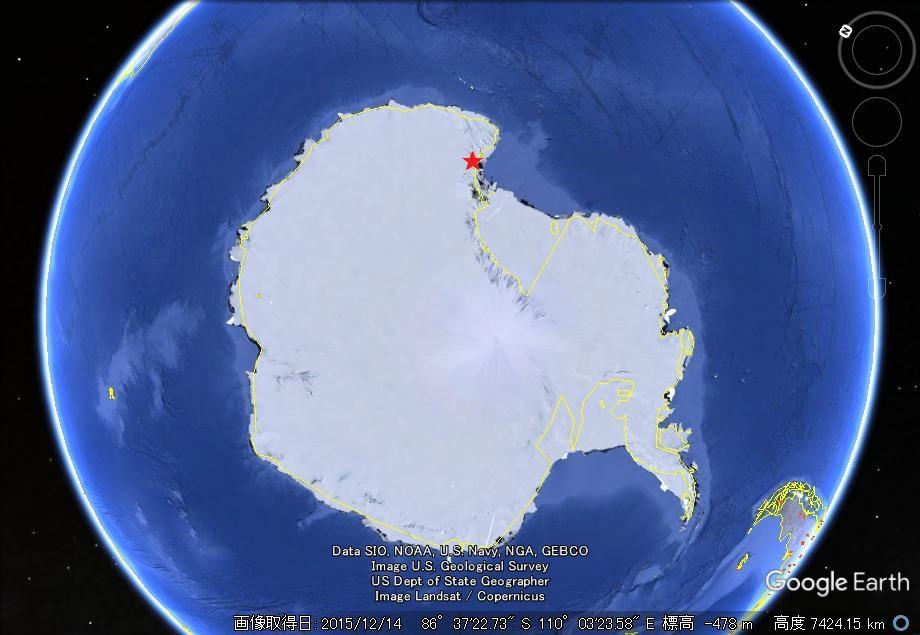 南極の衛星写真